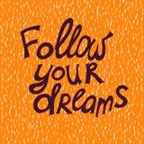 τα όνειρα ακολουθούν τ&omicron Στοκ Εικόνες