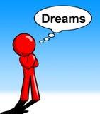 Τα όνειρα σκέψης χαρακτήρα παρουσιάζουν ότι εξετάστε την εκτίμηση και τον ονειροπόληση διανυσματική απεικόνιση