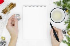 Τα όνειρα σχεδίων στόχων κάνουν για να κάνουν τον κατάλογο για τη νέα έννοια Χριστουγέννων έτους γράφοντας στο σημειωματάριο Μάνδ στοκ φωτογραφία με δικαίωμα ελεύθερης χρήσης