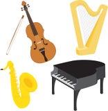 Τα όργανα μουσικής κινούμενων σχεδίων θέτουν 1 Στοκ Φωτογραφία