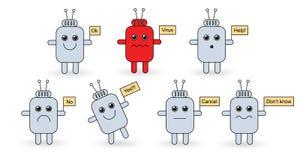 τα androids που τίθενται το σημάδ Στοκ Εικόνα