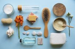 Τα aromatherapy αντικείμενα Skincare επίπεδος-βάζουν Στοκ εικόνα με δικαίωμα ελεύθερης χρήσης