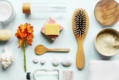 Τα aromatherapy αντικείμενα Skincare επίπεδος-βάζουν Στοκ εικόνες με δικαίωμα ελεύθερης χρήσης