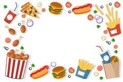 Τα burgers γρήγορου φαγητού, τηγανητά, χοτ-ντογκ βρίσκονται σε ένα πλαίσιο σε ένα λευκό κορυφαία όψη απεικόνιση αποθεμάτων