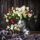 Τα chamomile λουλούδια και οι παπαρούνες ανθοδεσμών σε ένα μέταλλο μπορούν Στοκ Εικόνες