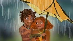 Τα croods κάτω από τη σκηνή βροχής