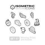 Τα Isometric εικονίδια περιλήψεων θέτουν 57 Στοκ Εικόνες