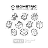 Τα Isometric εικονίδια περιλήψεων θέτουν 27 Στοκ φωτογραφία με δικαίωμα ελεύθερης χρήσης