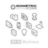 Τα Isometric εικονίδια περιλήψεων θέτουν 10 Στοκ Εικόνες