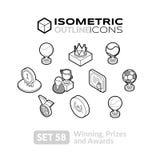 Τα Isometric εικονίδια περιλήψεων θέτουν 58 Ελεύθερη απεικόνιση δικαιώματος