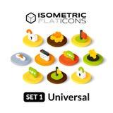 Τα Isometric επίπεδα εικονίδια θέτουν 1 Στοκ Εικόνες