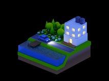 Τα Isometric κτήρια πόλεων, το τοπίο, ο δρόμος και ο ποταμός, νύχτα Στοκ Εικόνα
