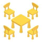 Τα Isometric παιδιά παίζουν τα εσωτερικά έπιπλα δωματίων - πίνακας και καρέκλες Διανυσματική απεικόνιση eps 10 που απομονώνεται σ ελεύθερη απεικόνιση δικαιώματος