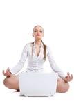 τα lotos επιχειρησιακών lap-top ομορφιάς κάθονται τη γυναίκα στοκ φωτογραφία με δικαίωμα ελεύθερης χρήσης