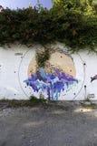 Τα murales με το διάτρητο χρησιμοποιούν σε Airola Ιταλία στοκ εικόνες