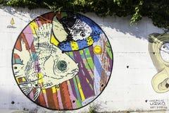 Τα murales με το διάτρητο χρησιμοποιούν σε Airola Ιταλία στοκ εικόνες με δικαίωμα ελεύθερης χρήσης