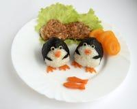 Τα penguins φιαγμένα από ρύζι Στοκ Εικόνες
