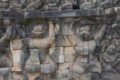 Τα Watt Angkor - τοίχοι καταστροφών ναών TA Prohm της khmer πόλης του angkor wat - δηλώνουν το μνημείο Στοκ Φωτογραφίες