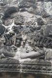Τα Watt Angkor - τοίχοι καταστροφών ναών TA Prohm της khmer πόλης Angkor wat εγκαταστήστε στην Καμπότζη - δηλώνουν το μνημείο Στοκ Φωτογραφίες