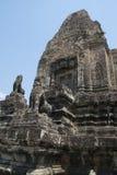 Τα Watt Angkor - τοίχοι καταστροφών ναών TA Prohm της khmer πόλης Angkor wat εγκαταστήστε στην Καμπότζη - δηλώνουν το μνημείο Στοκ Φωτογραφία