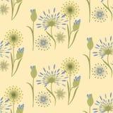 Τα wildflowers σχεδίων εξευγενίζουν το μπεζ μπλε δημιουργικό διάνυσμα τέχνης Στοκ Εικόνα
