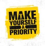 Τεθείτε μια προτεραιότητα Ισχυρή έννοια στοιχείων σχεδίου γυμναστικής Workout και ικανότητας Απόσπασμα αθλητικού κινήτρου Τραχύ δ ελεύθερη απεικόνιση δικαιώματος