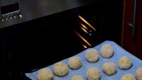 Τεθειμένος στο arancini σφαιρών ρυζιού φούρνων μαγειρεύοντας συστατικά ιταλικά τροφίμων απόθεμα βίντεο
