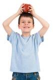 Τεθειμένο αγόρι μήλο στο κεφάλι του Στοκ Εικόνες