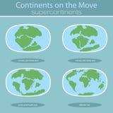 Τεκτονικές πλάκες στο πλανήτη Γη σύγχρονες ήπειροι και σύνολο infographics επίπεδου ύφους εικονιδίων Στοκ Εικόνα