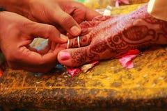 Τελετουργικά νότιου ινδικά γάμου, ινδικά γαμήλια τελετουργικά της νύφης και του νεόνυμφου με το γαμήλιο υπόβαθρο Στοκ φωτογραφίες με δικαίωμα ελεύθερης χρήσης