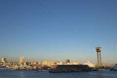 Τελεφερίκ πύργων του Jaume Torre στο λιμένα της Βαρκελώνης Στοκ Εικόνα