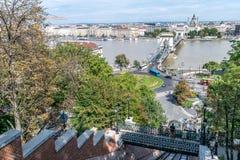Τελεφερίκ σιδηρόδρομος Hill της Βουδαπέστης Castle και γέφυρα αλυσίδων Στοκ εικόνα με δικαίωμα ελεύθερης χρήσης
