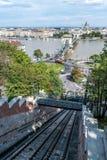 Τελεφερίκ σιδηρόδρομος Hill της Βουδαπέστης Castle και γέφυρα αλυσίδων Στοκ εικόνες με δικαίωμα ελεύθερης χρήσης