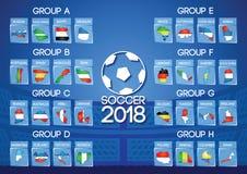 Τελική στρογγυλή ομάδα ποδοσφαίρου της Ρωσίας στο χρώμα σημαιών εικονιδίων χαρτών ελεύθερη απεικόνιση δικαιώματος