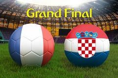 Τελικός αγώνας Γαλλία εναντίον της σφαίρας ομάδων ποδοσφαίρου της Κροατίας στο μεγάλο υπόβαθρο σταδίων Γαλλία εναντίον της σημαία απεικόνιση αποθεμάτων