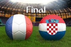 Τελικός αγώνας Γαλλία εναντίον της σφαίρας ομάδων ποδοσφαίρου της Κροατίας στο μεγάλο υπόβαθρο σταδίων Γαλλία εναντίον της σημαία ελεύθερη απεικόνιση δικαιώματος