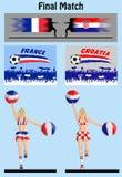 Τελικός αγώνας του παγκόσμιου πρωταθλήματος 2018 μεταξύ της Γαλλίας και Croati απεικόνιση αποθεμάτων