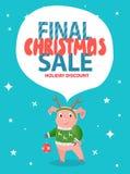 Τελικός χοίρος έκπτωσης διακοπών πώλησης Χριστουγέννων σε πράσινο απεικόνιση αποθεμάτων