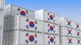 Τελικό σύνολο εμπορευματοκιβωτίων των εμπορευματοκιβωτίων με τη σημαία της Νότιας Κορέας Η κορεατική εξαγωγή ή η εισαγωγή αφορούσ ελεύθερη απεικόνιση δικαιώματος