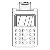 Τελικό cashless εικονίδιο πληρωμής, ύφος περιλήψεων διανυσματική απεικόνιση