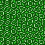 Τεμάχια του εξαγωνικού μωσαϊκού στο πράσινο συνεχές σχέδιο χρώματος διανυσματική απεικόνιση