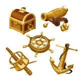 Τεμάχια του στήθους σκαφών, πυροβόλων και θησαυρών διανυσματική απεικόνιση