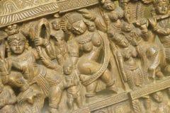 Τεμάχιο μιας ξύλινης επιτροπής με Krishna στοκ εικόνες