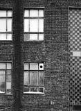 Τεμάχιο της πρόσοψης του παλαιού κτηρίου Παράθυρα και τουβλότοιχοι Στοκ Φωτογραφία