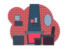 Τεμάχιο του εσωτερικού καθιστικού στο ύφος σοφιτών με τη σύγχρονα εστία και τα έπιπλα r ελεύθερη απεικόνιση δικαιώματος