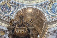 Τεμάχιο του εσωτερικού της βασιλικής Αγίου Peter Βατικανό Ρώμη Στοκ εικόνες με δικαίωμα ελεύθερης χρήσης