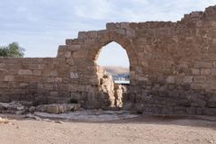Τεμάχιο του μοναστηριού των καταστροφών του ST Euthymius που βρίσκονται στη βιομηχανική ζώνη Adumim αγγλικής μπύρας μΑ ` στο Ισρα Στοκ εικόνες με δικαίωμα ελεύθερης χρήσης