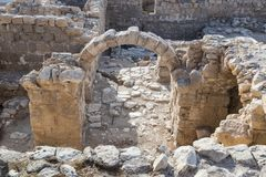 Τεμάχιο του μοναστηριού των καταστροφών του ST Euthymius που βρίσκονται στη βιομηχανική ζώνη Adumim αγγλικής μπύρας μΑ ` στο Ισρα Στοκ Εικόνες