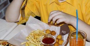 Τεμάχιο του παιδιού που τρώει τις τηγανιτές πατάτες στον καφέ Στοκ εικόνες με δικαίωμα ελεύθερης χρήσης