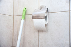 Τεμάχιο του δωματίου τουαλετών με έναν ρόλο του χαρτιού τουαλέτας Στοκ εικόνα με δικαίωμα ελεύθερης χρήσης